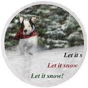 Let It Snow Round Beach Towel by Shelley Neff