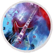 Let The Music Play Round Beach Towel