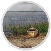 Round Beach Towel featuring the photograph L'etang by Hanny Heim
