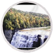 Letchworth State Park Middle Falls Panorama Round Beach Towel