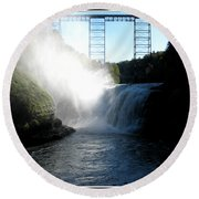 Letchworth State Park Upper Falls And Railroad Trestle Round Beach Towel