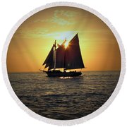 A Key West Sail At Sunset Round Beach Towel