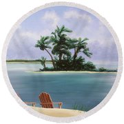 Let's Swim Out To The Island Round Beach Towel