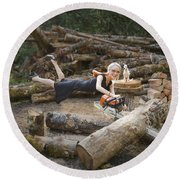 Levitating Housewife - Cutting Firewood Round Beach Towel by Lori Grimmett