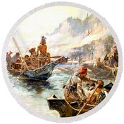 Lewis And Clark On The Lower Columbia  Round Beach Towel
