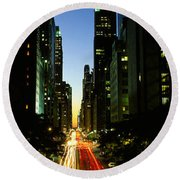 Lexington Avenue, Cityscape, Nyc, New Round Beach Towel by Panoramic Images