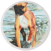 Round Beach Towel featuring the painting Leyla by Jeanne Fischer