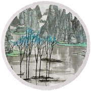 Round Beach Towel featuring the photograph Li River In Spring by Yufeng Wang