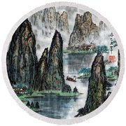 Round Beach Towel featuring the photograph Li River by Yufeng Wang