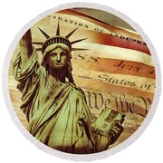 Declaration Of Independence Round Beach Towel by Az Jackson