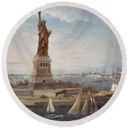 Liberty Island New York Harbor Round Beach Towel
