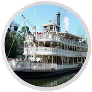 Round Beach Towel featuring the photograph Liberty Riverboat by David Nicholls