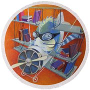 Round Beach Towel featuring the painting Librarian Pilot by Marina Gnetetsky