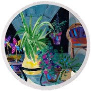 Library Courtyard-rhodes Old Town Round Beach Towel