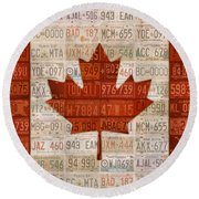 License Plate Art Flag Of Canada Round Beach Towel
