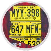License Plate Map Of Arizona By Design Turnpike Round Beach Towel