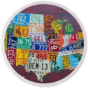 License Plate Map Of The United States Round Beach Towel by Design Turnpike