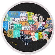 License Plate Map Of The United States On Gray Felt With Black Box Frame Edition 14 Round Beach Towel