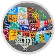 License Plate Map Of The United States On Gray Wood Boards Round Beach Towel