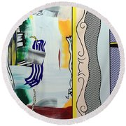 Lichtenstein's Painting With Statue Of Liberty Round Beach Towel by Cora Wandel
