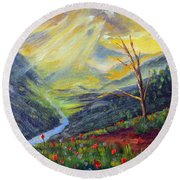 Round Beach Towel featuring the painting Life Force by Meaghan Troup
