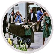 Life Goes On Round Beach Towel