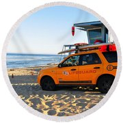 Round Beach Towel featuring the digital art Life Guard  by Gandz Photography