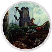 Life In A Dead Tree Round Beach Towel
