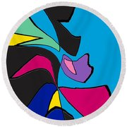 Original Abstract Art Painting Life Is Good By Rjfxx.  Round Beach Towel