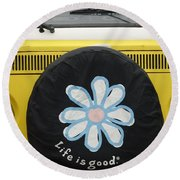 Life Is Good With Vw Round Beach Towel