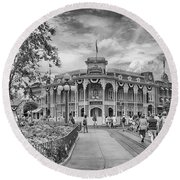Round Beach Towel featuring the photograph Life On Main Street by Howard Salmon