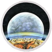 Life On Mars 2299 - Space Art Painting Round Beach Towel