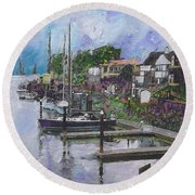 Alameda Life On The Estuary Round Beach Towel by Linda Weinstock