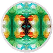 Life Patterns 1 - Abstract Art By Sharon Cummings Round Beach Towel