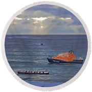 Lifeboats And A Gig Round Beach Towel
