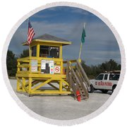 Round Beach Towel featuring the photograph Lifegard And Beachpatrol by Christiane Schulze Art And Photography