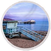 Lifeguard Tower And Malibu Beach Pier Seascape Fine Art Photograph Print Round Beach Towel by Jerry Cowart