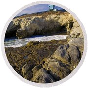 Lifeguard Tower On The Edge Of A Cliff Round Beach Towel by David Millenheft