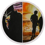 Round Beach Towel featuring the painting Life's A Beach by Tamir Barkan