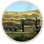 Lift Bridge Over The Columbia River Round Beach Towel