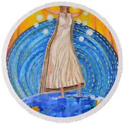 Round Beach Towel featuring the painting Lifting The Veil by Cassie Sears