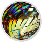Light Color 1 Prism Rainbow Glass Abstract By Jan Marvin Studios Round Beach Towel