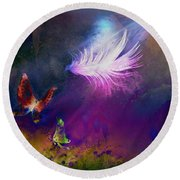 Round Beach Towel featuring the painting Light Feather by Lilia D