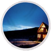 Light From A Tourist Lodge Round Beach Towel