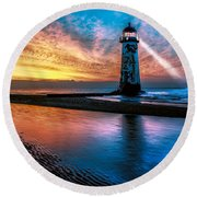 Light House Sunset Round Beach Towel