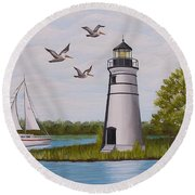 Light  In Madisonville Round Beach Towel