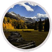 Light In The Valley Round Beach Towel by Steven Reed