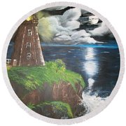 Round Beach Towel featuring the painting Light Of The Moon by Sharon Duguay