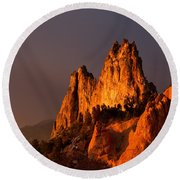 Round Beach Towel featuring the photograph Light On The Rocks by Ronda Kimbrow