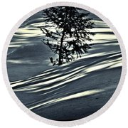 Round Beach Towel featuring the photograph Light On The Snow by Janie Johnson